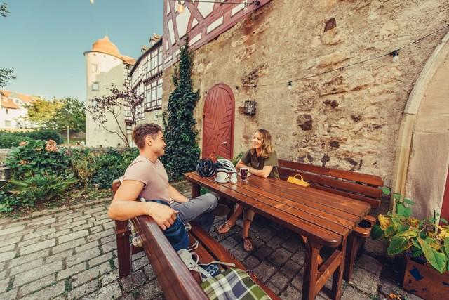 Pause im Café in Gaildorf